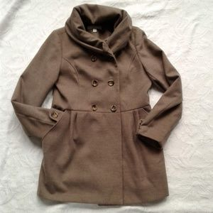New York Co Pea Coat Cowl Neck Taupe Brown Green M